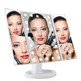 Aynoo Vanity Mirror Lighted Makeup Mirror 1x 2X 3X Trifold Mirror 180° Rotation Magnification Trifold Mirror Portable Cosmetic Lighted Makeup Mirror with 22 Light Touch Control Design (White)
