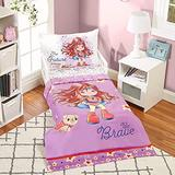 Precious Moments 4 Pc Toddler Bedding Set Starring Isabella The Super Hero and Her Dog by Everyday Kids - Comforter, Flat Sheet, Fitted Sheet and Pillowcase in Lavender (Light Purple), White and Red