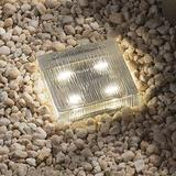 Glass Solar Brick with LED Lights - 4x4 Inch Square, Lined Texture, Warm White, Waterproof, Outdoor Landscape Lighting for Garden, Walkway or Pathway - Rechargeable Solar Powered Batteries Included