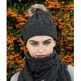 West End Knitwear Women's Beanies Charcoal - Charcoal Cable-Knit Pom-Pom Merino Wool Beanie - Women