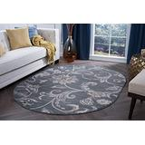 Garland Dark Gray 5x8 Oval Area Rug for Living, Bedroom, or Dining Room - Transitional, Floral