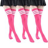 MK MEIKAN Pink Socks for Women Thigh, Girls Funny Cozy Over the Knee High Boot High Tube Leg Warmmer Cosplay Sexy Socks 3 Pairs (Pink)