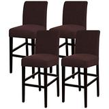 Turquoize Stretch Bar Stool Cover Counter Stool Pub Chair Slipcover for Dining Room Cafe Barstool Slipcover Removable Furniture Chair Seat Cover Jacquard Fabric with Elastic Bottom Set of 4, Brown