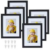 Yamiyo Picture Frames 8x10,8x10 Picture Frame Black in Bulk,with HD Glass and Removable Mat for 5x7 or 8x10 Photos,Multi Black Picture Frames for Wall or Tabletop,Set of 6