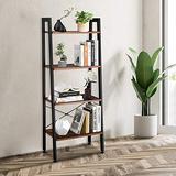 Goujxcy Industrial Ladder Shelf, 4-Tier Bookshelf Ladder Shelves, Rustic Brown Leaning Bookcases Storage Rack Shelves Wood Look Accent Metal Frame Modern Furniture for Home Office (4-Tier)