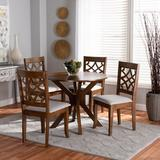 Red Barrel Studio® Battles 5 - Piece Solid Oak Dining SetWood/Upholstered Chairs in Brown, Size 29.9 H x 35.4 W x 35.4 D in | Wayfair