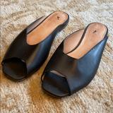 Madewell Shoes | Madewell Erica Peep-Toe Mule In Leather Ah753 | Color: Black | Size: 6