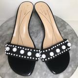 Kate Spade Shoes | Kate Spade Black Patent Beaded Kitten Heel Sandals | Color: Black/White | Size: 9