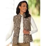 Women's Quilted Animal Print Reversible Vest, Leopard/Black P-M