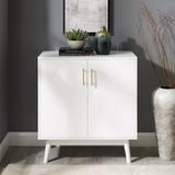 Mercury Row® Caudell 2 - Door Accent Cabinet Wood/Plastic/Acrylic in White, Size 33.0 H x 30.0 W x 16.0 D in   Wayfair