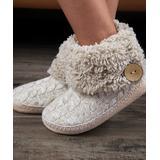 Cosyone 1997 Women's Slippers BEIGE - Beige Cable-Knit Button-Cuff Slipper Boot - Women