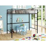 HCTT SHOW Loft Twin Bed,Modern Metal Pipe Twin Size Loft Bed Kids Bunk Bed Bedroom Storage Guard Rail Ladder for Kid, Twin, Black