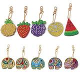 DIY Diamond Painting Keychain 5D Mosaic Making Full Drill Special Shape Diamond Painting Pendant for Bags,Phone Straps Fruit Elephant 10 Pack