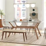 Mercury Row® Gambill Trestle Dining Table Wood/Glass in Brown, Size 30.0 H x 72.0 W x 42.0 D in | Wayfair 0025EAA032524707925E9DFB9A838BB4