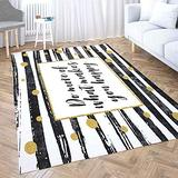 Area Rugs 5X7,Shorping Large Area Rug Modern Area Rug Vintage Area Rug Do More What Make You Happy Motivational Quote Card Gold Glitter Dots Black Fun Area Rug Rugs for Bedroom Cute Area Rug