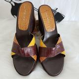 Nine West Shoes | Nine West Wedge Slides Mules Platform Heel Sz 9.5m | Color: Brown/Tan | Size: 9.5