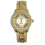 Women's Diamond Watches Costume Hip Hop Bling Rhinestone Dress Watches for Women Mother of Pearl Dial Ladies Watch