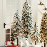 Christmas Pre-Lit Flocked Alpine Trees, Set Of Three - Grandin Road