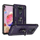 Rubberized Hybrid Shock Absorption Protective Case With Rotatable Ring Stand, Purple For Fortune 3