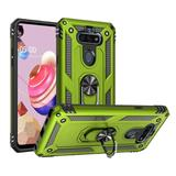 Rubberized Hybrid Shock Absorption Protective Case With Rotatable Ring Stand, Neon Green For Fortune 3