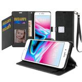 Magnetic Metal Snap Two Row Credit Card Holder Mobile Phone Wallet Case with Wristlet, Black For iPhone 8 Plus