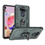Rubberized Hybrid Shock Absorption Protective Case With Rotatable Ring Stand, Midnight Green For Fortune 3