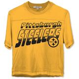 Women's Junk Food Gold Pittsburgh Steelers Champions Crop Top T-Shirt, Size: Small
