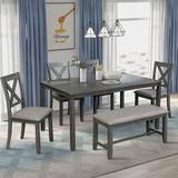 Gracie Oaks Simonides 6 - Piece Dining Set Wood/Upholstered Chairs in Gray, Size 30.0 H x 36.0 W x 60.0 D in | Wayfair
