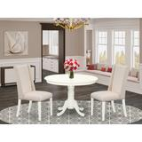 Charlton Home® Gladsheim Rubberwood Solid Wood Dining Set Wood/Upholstered Chairs in White, Size 30.0 H x 42.0 W x 42.0 D in | Wayfair