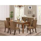 Red Barrel Studio® Abrahamsen Rubberwood Solid Wood Dining Set Wood/Upholstered Chairs in Brown, Size 30.0 H in   Wayfair