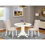 Alcott Hill® Seiter Rubberwood Solid Wood Dining Set Wood/Upholstered Chairs in White, Size 30.0 H x 42.0 W x 42.0 D in | Wayfair