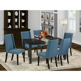 Winston Porter Hadly Rubberwood Solid Wood Dining Set Wood/Upholstered Chairs in Black, Size 30.0 H x 36.0 W x 60.0 D in   Wayfair