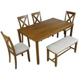 Gracie Oaks Simonides 6 - Piece Dining Set Wood/Upholstered Chairs in Brown, Size 30.0 H x 36.0 W x 60.0 D in | Wayfair