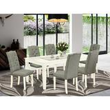 Red Barrel Studio® Abobakr Butterfly Leaf Rubberwood Solid Wood Dining Set Wood/Upholstered Chairs in Brown/Gray/White, Size 30.0 H in   Wayfair