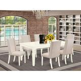 Charlton Home® Dvergheim Butterfly Leaf Rubberwood Solid Wood Dining Set Wood/Upholstered Chairs in White, Size 30.0 H in   Wayfair