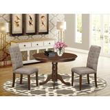 Charlton Home® Syn Rubberwood Solid Wood Dining Set Wood/Upholstered Chairs in Brown, Size 29.5 H x 42.0 W x 42.0 D in | Wayfair