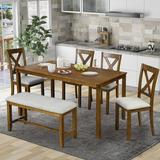 Gracie Oaks Smithboro 6 - Piece Dining Set Wood/Upholstered Chairs in Brown/White, Size 30.0 H x 41.0 W x 65.0 D in | Wayfair