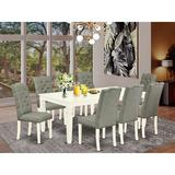 Charlton Home® Asynjur Butterfly Leaf Rubberwood Solid Wood Dining Set Wood/Upholstered Chairs in Brown/Gray/White, Size 30.0 H in | Wayfair