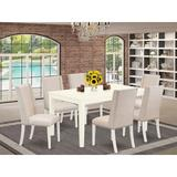 Red Barrel Studio® Abrahamsen Rubberwood Solid Wood Dining Set Wood/Upholstered Chairs in White, Size 30.0 H in   Wayfair
