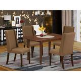 Winston Porter Hadara Butterfly Leaf Rubberwood Solid Wood Dining Set Wood/Upholstered Chairs in Brown, Size 30.0 H in | Wayfair