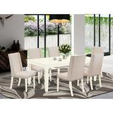 Alcott Hill® Seiber Butterfly Leaf Rubberwood Solid Wood Dining Set Wood/Upholstered Chairs in White, Size 30.0 H in   Wayfair