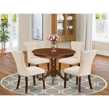 Charlton Home® Valhalla Rubberwood Solid Wood Dining Set Wood/Upholstered Chairs in Brown, Size 30.0 H x 42.0 W x 42.0 D in | Wayfair