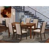 Winston Porter Haileyville Rubberwood Solid Wood Dining SetWood/Upholstered Chairs in Brown, Size 30.0 H x 36.0 W x 60.0 D in | Wayfair