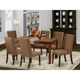 Winston Porter Hadly Rubberwood Solid Wood Dining Set Wood/Upholstered Chairs in Brown, Size 30.0 H x 36.0 W x 60.0 D in   Wayfair