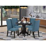 Alcott Hill® Seiter Rubberwood Solid Wood Dining Set Wood/Upholstered Chairs in Black, Size 30.0 H x 42.0 W x 42.0 D in | Wayfair