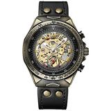 Men's Watch Skeleton Automatic Watches Stainless Steel Quality Bronze Punk Retro Style Waterproof Wristwatch (Black)
