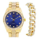 Mens ICY Classic Iced Out Gold Watch (Blue Face) with CZ Bezel and Bling-ed Out Cuban Bracelet Combo Set - Presidential Dial with Studded CZ Indicators - Inspired by Hip Hop Fashion (Quartz Movement)