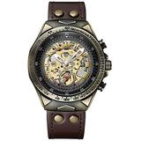 Men's Watch Skeleton Automatic Watches Stainless Steel Quality Bronze Punk Retro Style Waterproof Wristwatch (Brown)