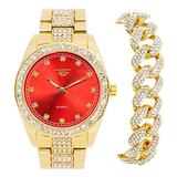Mens ICY Classic Iced Out Gold Watch (Red Face) with CZ Bezel and Bling-ed Out Cuban Bracelet Combo Set - Presidential Dial with Studded CZ Indicators - Inspired by Hip Hop Fashion (Quartz Movement)