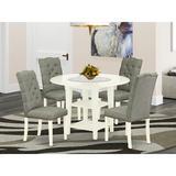 Red Barrel Studio® Abraar Drop Leaf Rubberwood Solid Wood Dining Set Wood/Upholstered Chairs in Brown/Gray/White, Size 30.0 H in | Wayfair